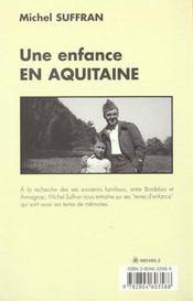Une enfance en aquitaine - 4ème de couverture - Format classique