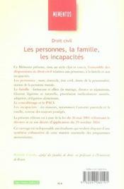 Droit Civil : Les Personnes, La Famille, Les Incapacites - 4ème de couverture - Format classique