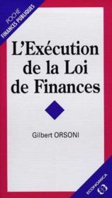 L'execution de la loi de finances - Couverture - Format classique
