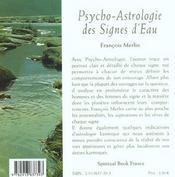 Psycho-astrologie des signes d'eau - 4ème de couverture - Format classique