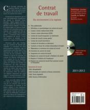 Contrat de travail (édition 2011/2012) - 4ème de couverture - Format classique