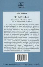 Cinéma suisse ; une politique culturelle en action : l'Etat, les professionnels, les publics - Couverture - Format classique