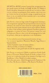 Secrets De Budo ; Enseignements De Maitres D'Arts Martiaux - 4ème de couverture - Format classique