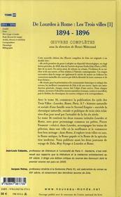 Oeuvres complètes t.16 ; de lourdes à rome : les trois villes, 1894-1896 - 4ème de couverture - Format classique