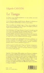 Le tango ; une pure invention - 4ème de couverture - Format classique