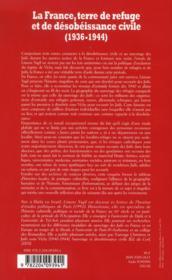 La France Terre De Refuge Et De Desobeissance Civile - 4ème de couverture - Format classique