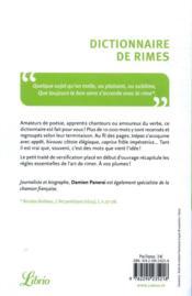 Dictionnaire de rimes et petit traité de versification - 4ème de couverture - Format classique