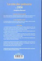 La cote des prenoms en 2006 connaitre la mode pour bien choisir un prenom - 4ème de couverture - Format classique