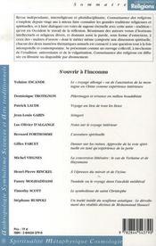 Connaissance Des Religions N.77-78 ; S'Ouvrir A L'Inconnu ; Aspects De L'Aventure Spirituelle - 4ème de couverture - Format classique