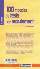 100 modeles de tests de recrutement 2ieme edition - 4ème de couverture - Format classique