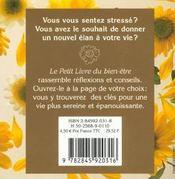 Le Petit Livre Du Bien-Etre - 4ème de couverture - Format classique