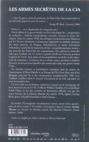Les armes secrètes de la CIA ; tortures, manipulations et armes chimiques - 4ème de couverture - Format classique