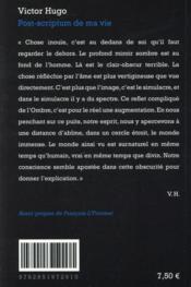Post-scriptum de ma vie - 4ème de couverture - Format classique