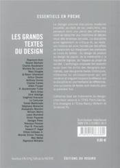 Les grands textes du design - 4ème de couverture - Format classique