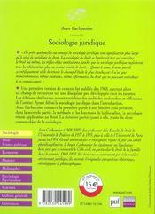 SOCIOLOGIE JURIDIQUE (2e édition) - 4ème de couverture - Format classique