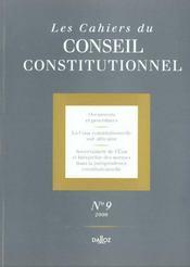 Les Cahiers Conseil Constitutionnel T.9 - Intérieur - Format classique