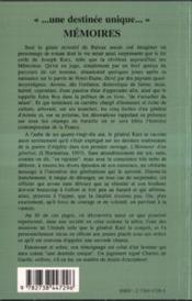 Une Destinee Unique, Memoires 1907-1996 - 4ème de couverture - Format classique