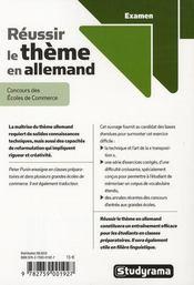 Réussir le thème en allemand - 4ème de couverture - Format classique