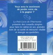 Le Petit Livre De L'Harmonie - 4ème de couverture - Format classique