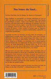 Nos Lettres Du Sinai... Correspondance De Jeunes Ecrivains A La Fin Du Xix Siecle - 4ème de couverture - Format classique