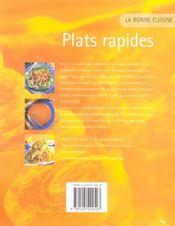 Plats rapides - 4ème de couverture - Format classique