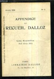 Appendice Au Recueil Dalloz N°3 Annee 1935 - Supplement Au Recueil Hebdomadaire Dalloz N°8-1935 - Lois Nouvelles 9-17 Fevrier 1935. - Couverture - Format classique