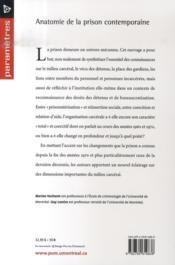 Anatomie de la prison contemporaine - 4ème de couverture - Format classique