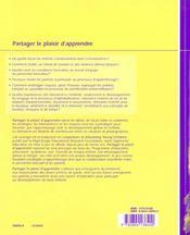 Partager plaisir d'apprendre - guide intervention educ. au prescolaire guide intervention educ. au p - 4ème de couverture - Format classique