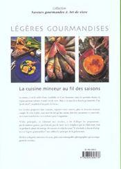 Legeres Gourmandises ; La Cuisine Minceur Au Fil Des Saisons - 4ème de couverture - Format classique
