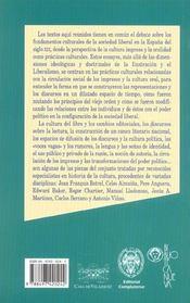 Origenes culturales de la sociedad liberal ; espana siglo xix - 4ème de couverture - Format classique