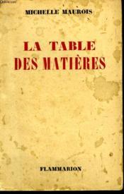 La Table Des Matieres. - Couverture - Format classique