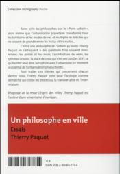 Un philosophe en ville - 4ème de couverture - Format classique