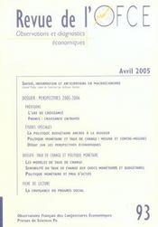 Revue De L'Ofce N.93 ; Avril 2005 - Intérieur - Format classique