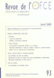 Revue De L'Ofce N.93 ; Avril 2005 - Couverture - Format classique