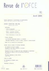 Revue De L'Ofce N.93 ; Avril 2005 - 4ème de couverture - Format classique