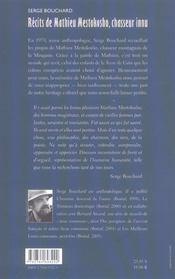 Recits De Mathieu Mestokosho - 4ème de couverture - Format classique