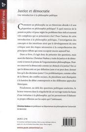 Justice et démocratie ; une introduction à la philosophie politique - 4ème de couverture - Format classique