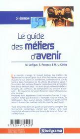 Guide des metiers d'avenir 3ieme edition (le) (3e édition) - 4ème de couverture - Format classique