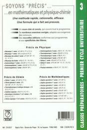 Precis de chimie t.3 ; chimie generale mp-pt-psi - 4ème de couverture - Format classique