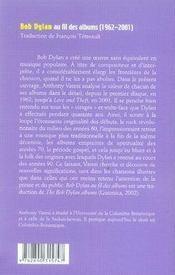 Bob dylan au fil des albums - 4ème de couverture - Format classique