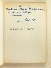 Poèmes en prose [ Livre dédicacé par l'auteur ] - Couverture - Format classique