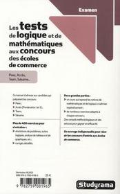 Les tests de logiques et de mathématiques aux concours des écoles de commerce - 4ème de couverture - Format classique