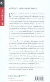Musique et modernité en france - 4ème de couverture - Format classique