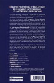Évaluation fonctionnelle et développement de programmes d'assistance pour les comportements problématiques - 4ème de couverture - Format classique