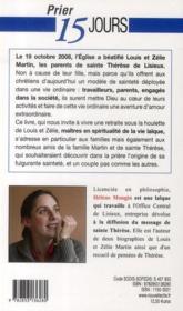 PRIER 15 JOURS AVEC ; prier 15 jours avec Louis et Zelie Martin - 4ème de couverture - Format classique