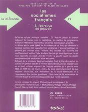 Les socialismes francais à l'épreuve du pouvoir ; pour une critique mélancolique de la gauche - 4ème de couverture - Format classique