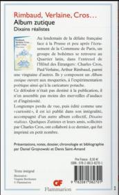 Album zutique ; dixains réalistes - 4ème de couverture - Format classique