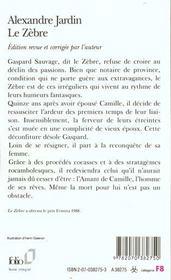 Le Zebre - 4ème de couverture - Format classique
