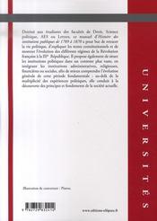 Histoire des institutions publiques (1789-1870) - 4ème de couverture - Format classique