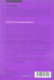 Écrits et correspondances - 4ème de couverture - Format classique